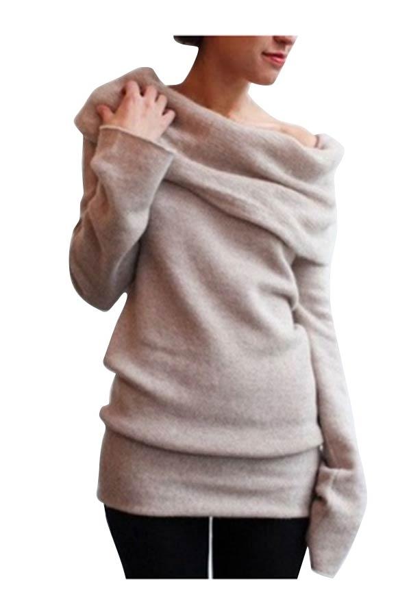 Теплый свитер с отложным воротником