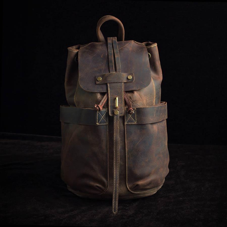 Вінтажний рюкзак з натуральної шкіри crazy horse