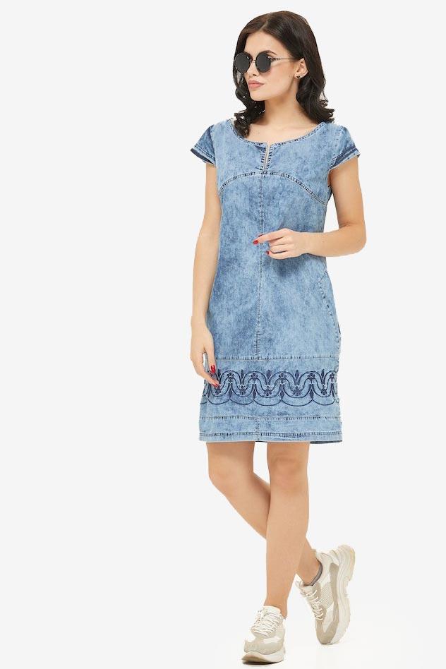 Джинсова сукня коротка з вишивкою